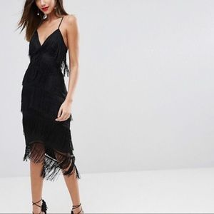 ASOS Dresses - ASOS Fringe Mesh Strappy Midi Bodycon Dress